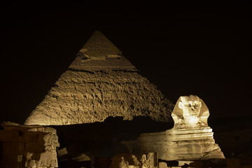 Sphinx and one of the great Giza Pyramids