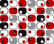 retro soft squares and dots in red, black and grey