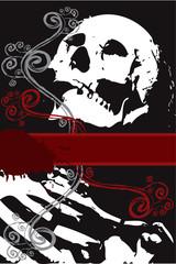 halloween grunge white skeleton with swirls