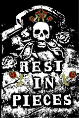 halloween grunge RIP death skull and roses