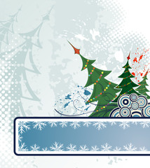 Christmas grunge background with trees, vector illustration
