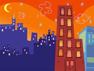 cartoon groovy buildings silhouettes