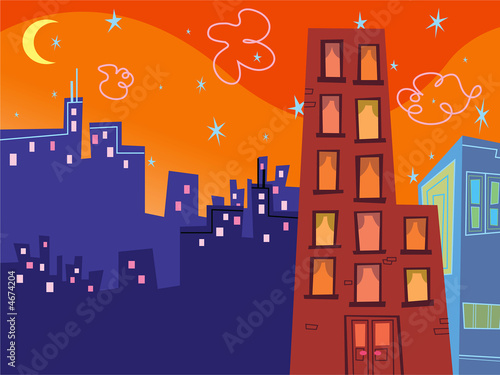 cartoon groovy buildings silhouettes