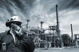 refinery, engineer and dark imposing sky poster