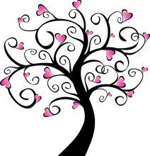 Kwitnienia drzew - różowe serca