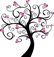 arbre en fleurs - cœurs roses