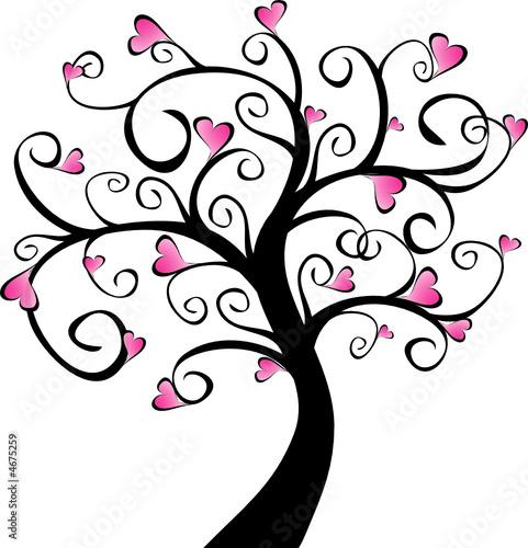 arbre en fleurs c urs roses fichier vectoriel libre de droits sur la banque d 39 images fotolia. Black Bedroom Furniture Sets. Home Design Ideas