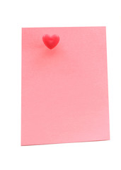 Pink note paper with heart pushpin