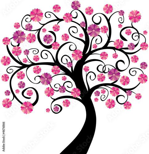Arbre en fleurs roses
