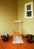 Cozy rocking chair on deck poster