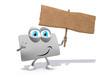 Loyalty card as 3d cartoon with wood pancarte sign