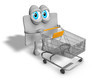 Loyalty card as 3d mascot pushing caddy cart