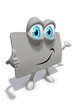 Loyalty card as 3d mascot with eyes thumbs up at you