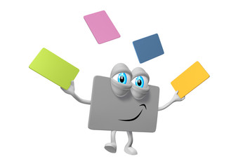 Card as 3d cartoon with eyes, legs and arms juggling with cards