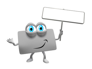 Loyalty card as 3d mascot with signpost