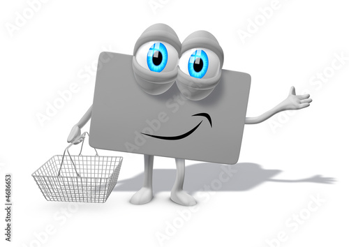 Loyalty card as 3d mascot with cart, blue eyes, legs and arms sm