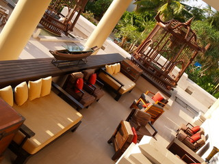 Outdoor lounge of a resort