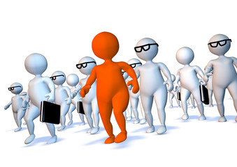 Crowd of 3d business mens walking with orange leader