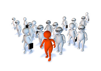 Crowd of 3d business mens walking with orange one isolated