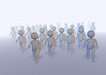Crowd of 3d anonymous characters walking out of fog like zombies