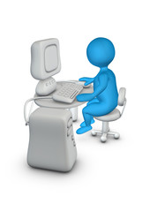 Computer office man 3d character
