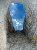 Old stone staircase to sky poster