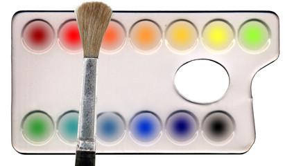 Malfarben und Pinsel