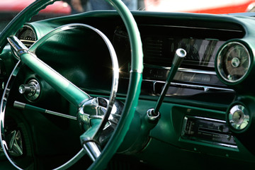 classic american steering wheel and dashboard
