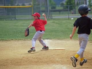 young baseball player at first base