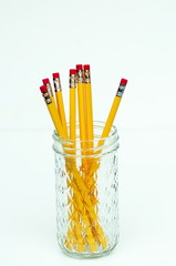 Yellow Pencils in Glass Jar