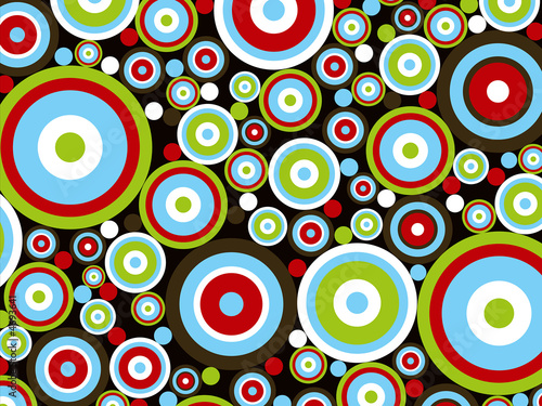 retro power red blue green circles on brown