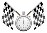 Drapeaux à damier et son chronomètre