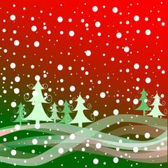 Tempête de neige sur la forêt - Illustration