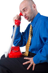 Upset businessman on phone