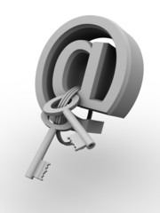 Symbol for internet with keys. 3d