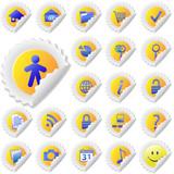 Yellow Sticker Peel Icon Set poster