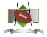 Football crest with goal post and ball poster