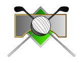 Golf crest with club and ball poster