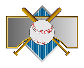 Baseball crest with bat and ball