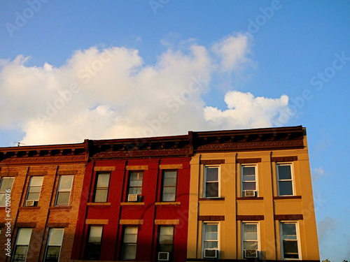 Colorful row of apartment buildings in Brooklyn, New York