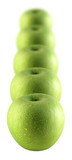 A row of green apples sprinkled with water poster