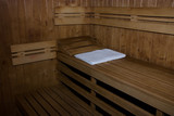 white towel in the sauna poster