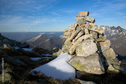 pile of stones in High Tatras, Slovakia