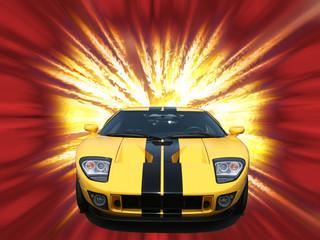 firery yellow american sportscar