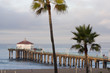 View of the famous Manhattan Beach pier at dawn