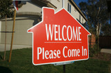 Welcome, Please Come In Open House Real Estate Sign poster