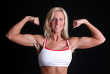 Woman flexing her arms poster