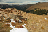 high rocks and snow; Rocky Mountain National Park poster