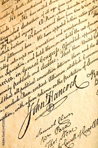 John Hancock on declaration of independence