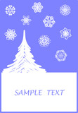 Surreal Christmas design with snowflakes and tree poster